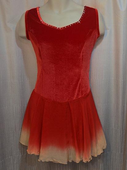 Red Velvet Skating Dress with Dyed Silk Skirt & Swarovskis ($175 USD)