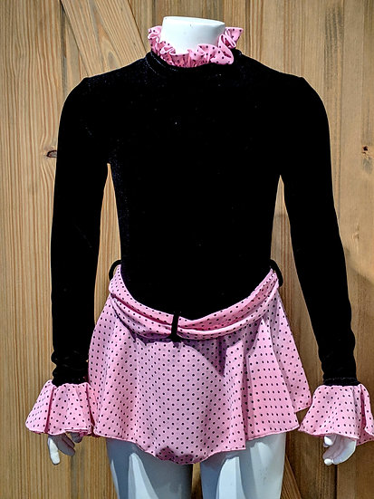 Black Velvet Skating dress with Pink Polka dots ($132 USD)