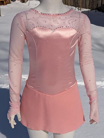Pink Satin Skating Dress with Swarovskis ($94 USD)