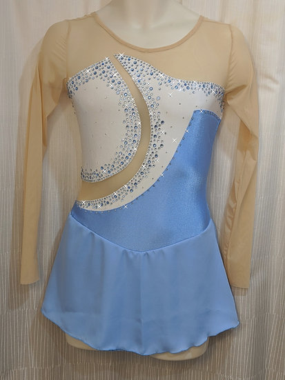 Blue and White Skating Dress with Swarovskis and Crystals ($405 USD)