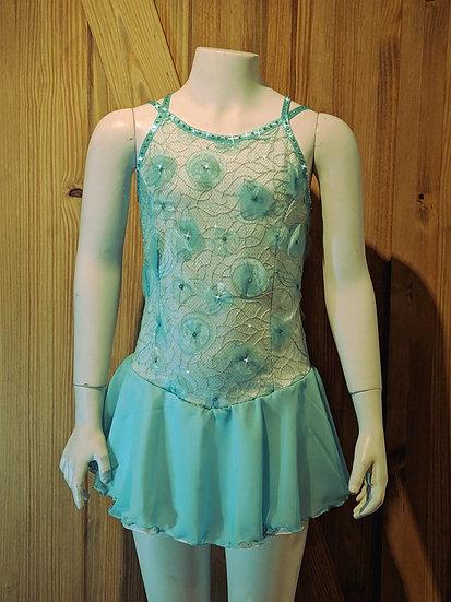 Aqua/Gold Lace Skating Dress with Swarovskis ($192 USD)
