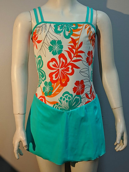 White, Aqua & Orange Floral Print Skating Dress($54 USD)