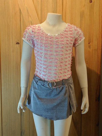 White with Pink Bows and Grey Skirt/Heart Rhinestone Belt ($124 USD)