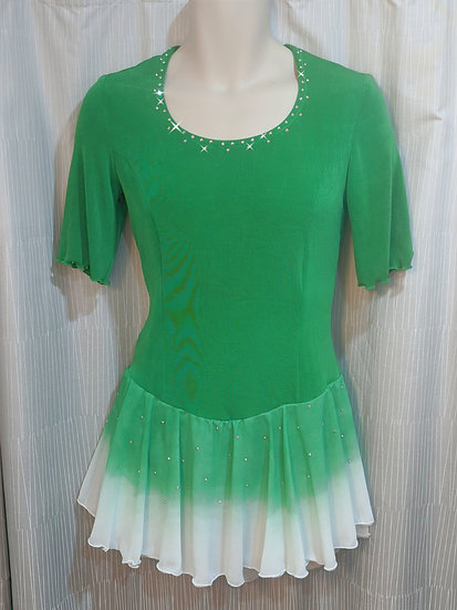 Green & White Skating Dress with Airbrushed Chiffon Skirt ($139 USD)