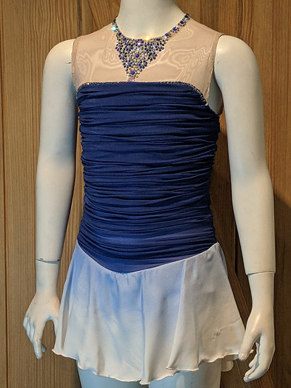Blue Ruching-bodice Skating Dress w/ Airbrushing & Swarovskis ($343 USD)