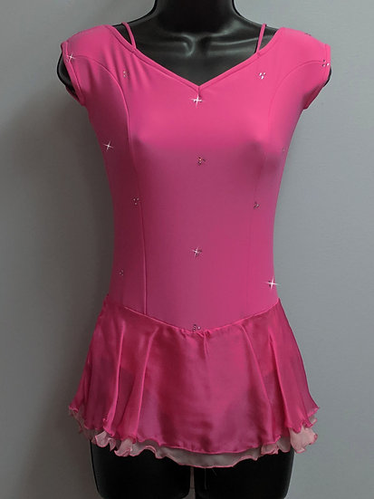 Medium Pink Skating Dress with Silk Chiffon Skirts & Swarovskis ($136 USD)