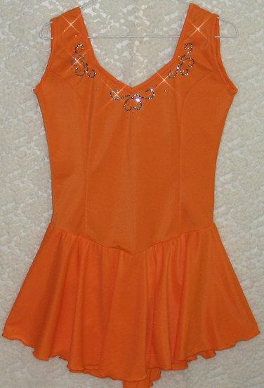 Orange Sleeveless Skating Dress with Rhinestones ($75 USD)