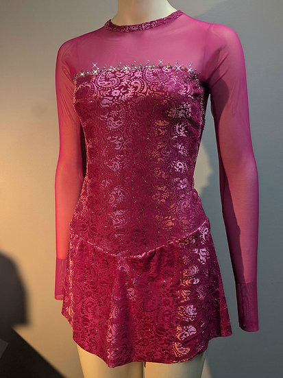 Fuchsia Burn-out Velvet Skating Dress w/Swarovskis ($219 USD)