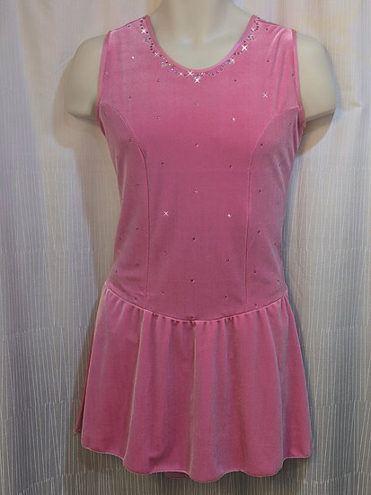 Pink Velvet Sleeveless Skating Dress with Swarovskis ($120 USD)
