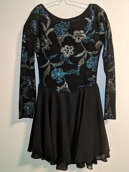 Black Sparkle Dance Dress with Chiffon Skirts ($94 USD)
