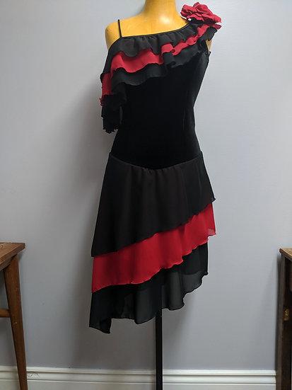 Black and Red One-Shoulder Skating Dress ($146 USD)
