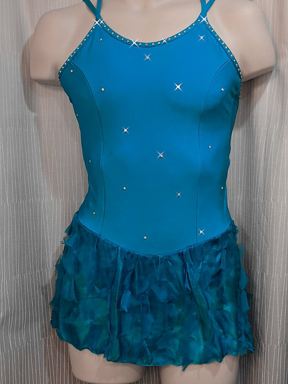 Deep Turquoise Skating Dress with Silk Skirt & Swarovskis ($210 USD)