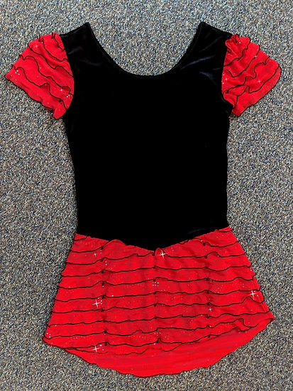 Black Velvet and Red Ruffle Skating Dress ($68 USD)