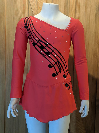 Coral Skating Dress with Music-theme and Swarovskis ($162 USD)