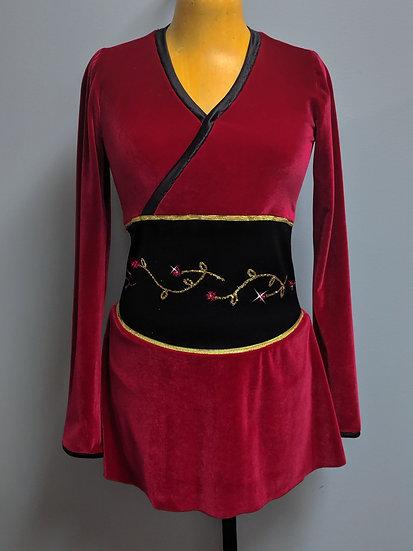 Red Velvet and Black Oriental-style Skating Dress ($143 USD)