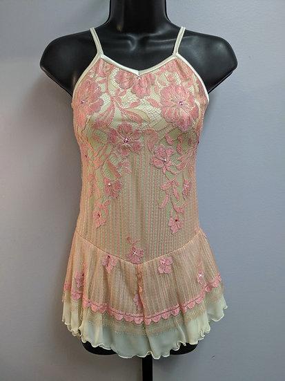 Pink Lace and Cream Skating Dress w/Rhinestones ($136 USD)