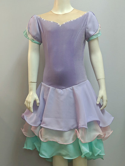 Lilac Velvet with Pink/Mint Grn Accents Dance Skating Dress ($203 USD)