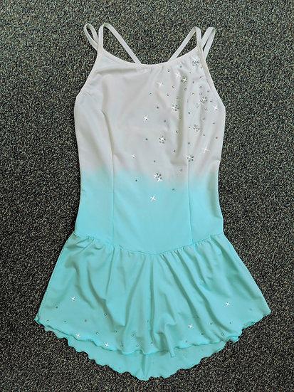 Dyed White and Aqua Camisole-Style Skating Dress w/ Swarovskis ($143 USD)