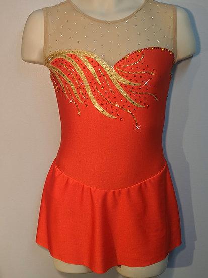 Burnt Orange Skating Dress w/Gold ($376 USD)