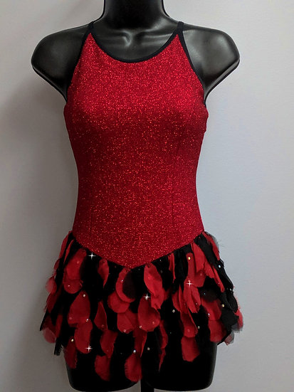 Red Sparkle Skating Dress with Chiffon Petal Skirt & Swarovskis ($169 USD)