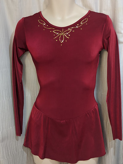 Dark Red Skating Dress with Gold Sparkle ($68 USD)