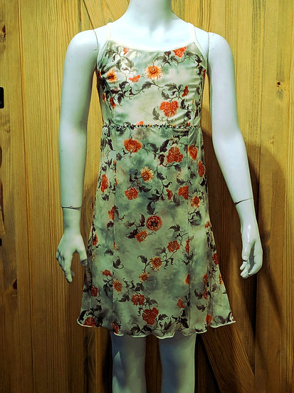 Green/Cream/Orange Floral Print Skating Dress ($135 USD)