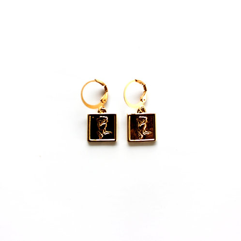 rose tag earrings gold