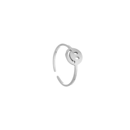 big smiley ring silver