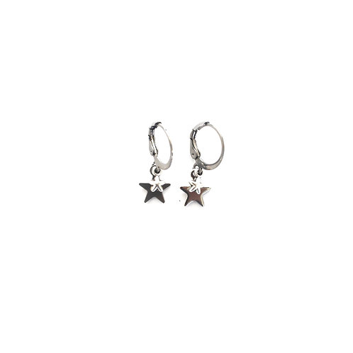 double star earrings silver