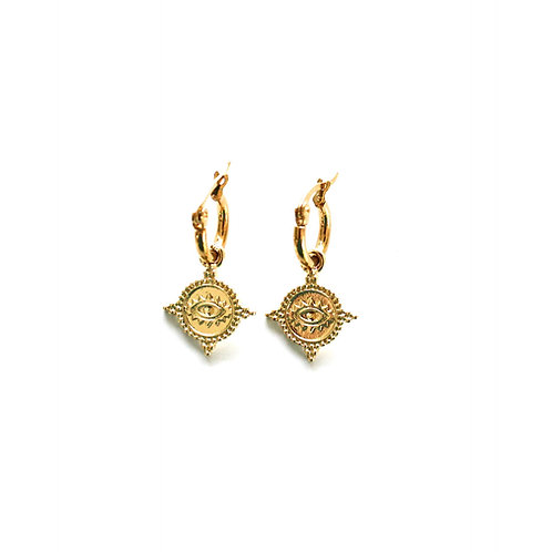 eye coin earrings gold