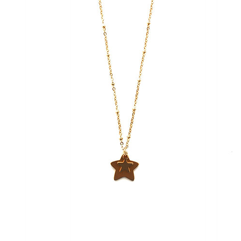 double star necklace gold