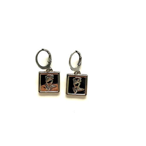rose tag earrings silver