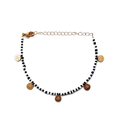 black-white coin anklet gold