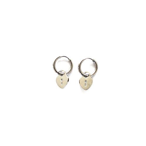 hearts lock earrings silver