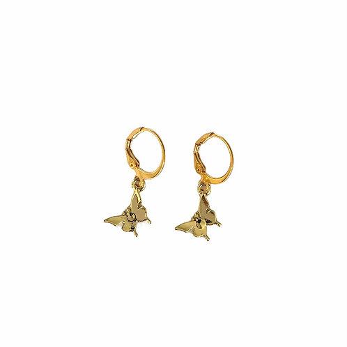 Small butterfly earrings gold