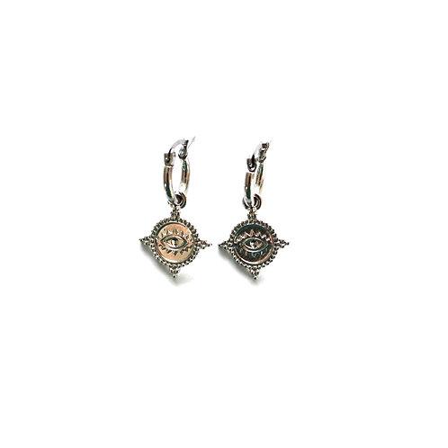 eye coin earrings silver