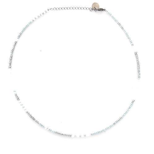 silver-blue pearl necklace