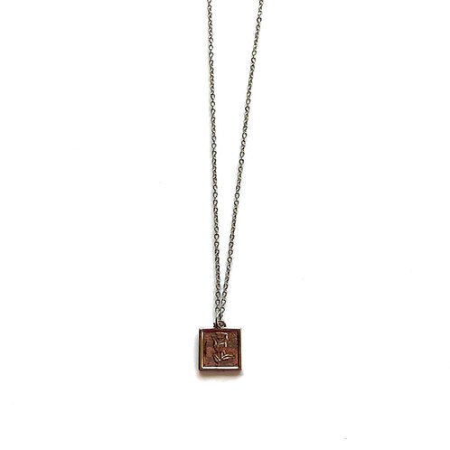 rose tag necklace silver
