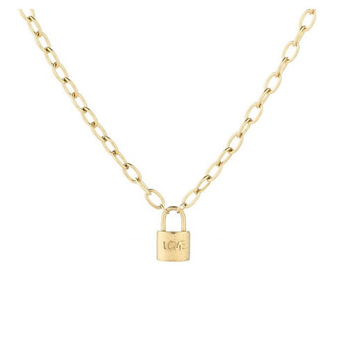Love lock necklace gold