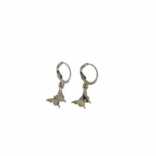 Small butterfly earrings silver