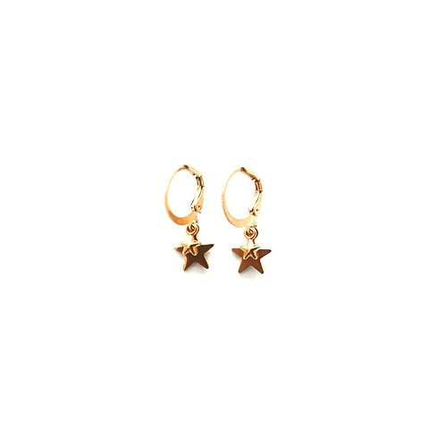 double star earrings gold