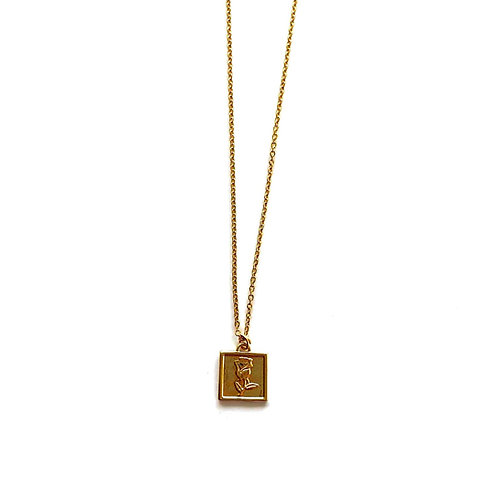 rose tag necklace gold