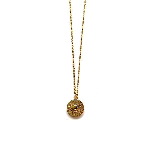 eye coin necklace gold
