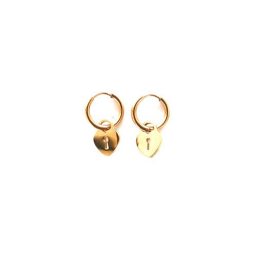 hearts lock earrings gold