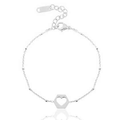 out heart bracelet silver