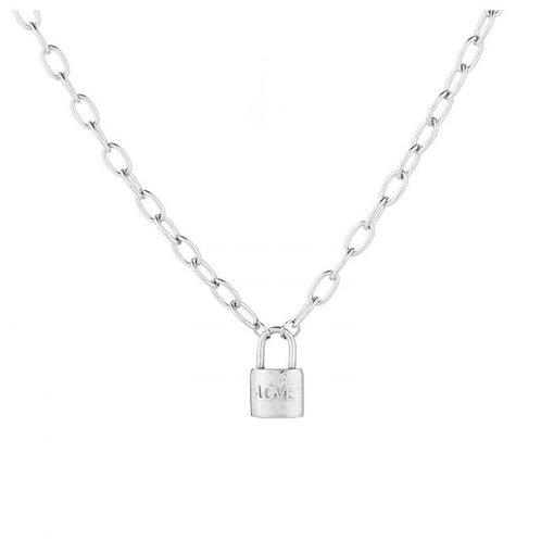 Love lock necklace silver
