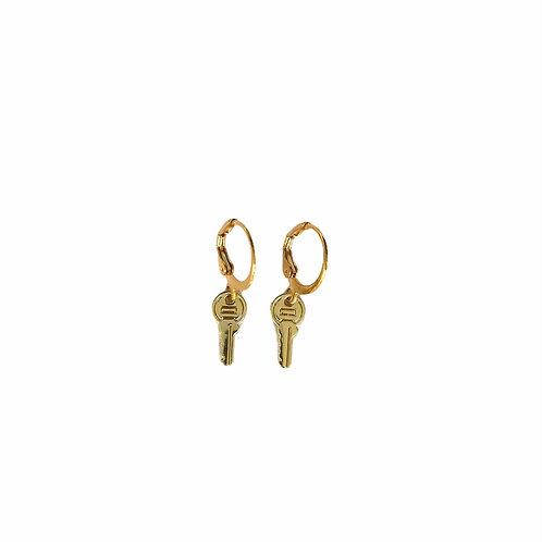 Key earrings gold