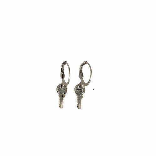 Key earrings silver