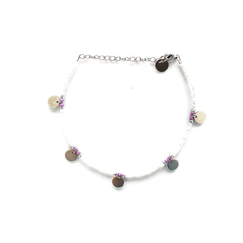 coin anklet lila silver