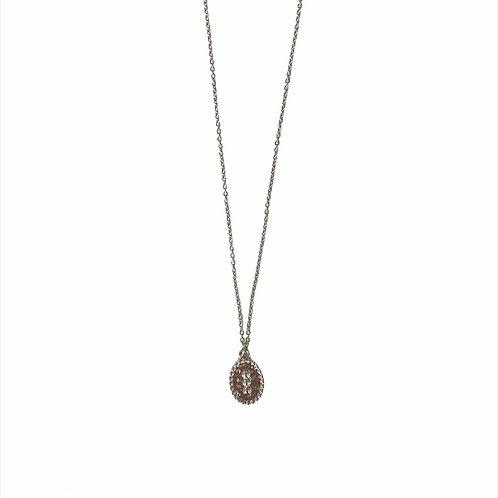 Oval dot necklace silver